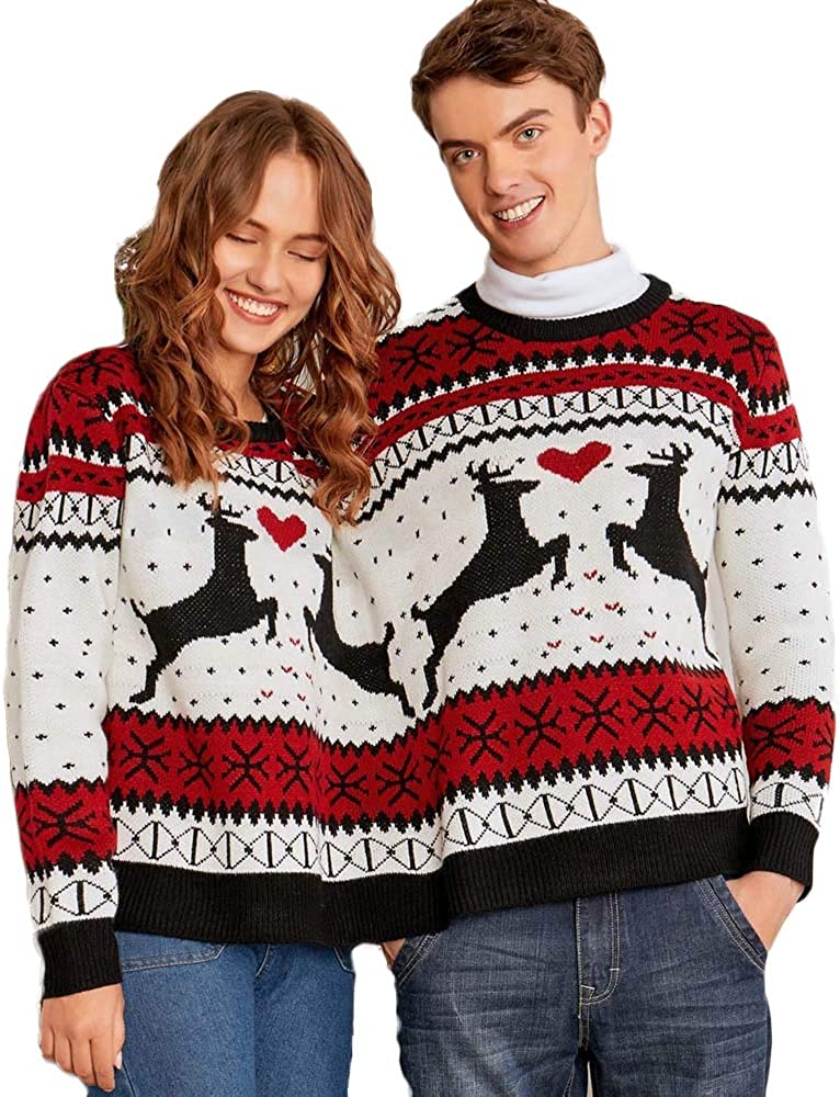 Dawwoti Womens Ugly Christmas Knit Pullover Reindeer Snowflakes 2 People Crew Neck Sweater