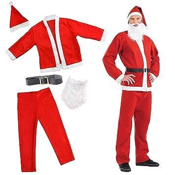 The Twiddlers - Disfraz de Papá Noel Festivo Navidad, Disfraz de Fiesta, Traje de Navidad, Barba, Sombrero, Pantalones y Chaqueta