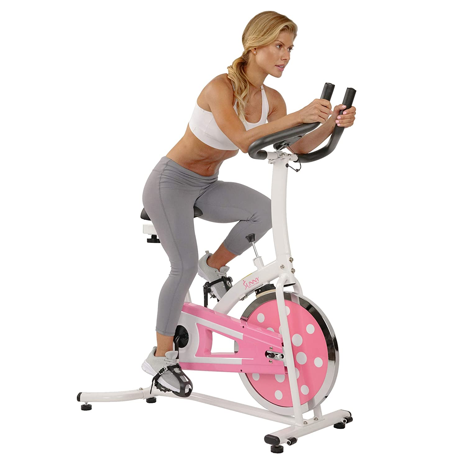 Sunny Health Fitness Indoor Cycling Exercise Stationary Bike with Monitor and Flywheel Bike, Pink – P8100