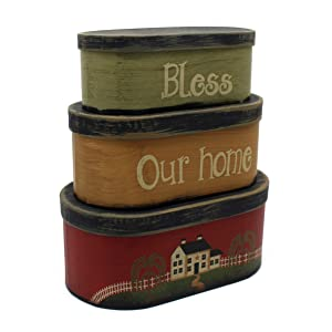 "CVHOMEDECO. Primitives Rustic Oval ""Bless Our Home"" Cardboard Nesting Boxes, Large 9-3/4 x 5-1/2 x 4 Inch, Set of 3."