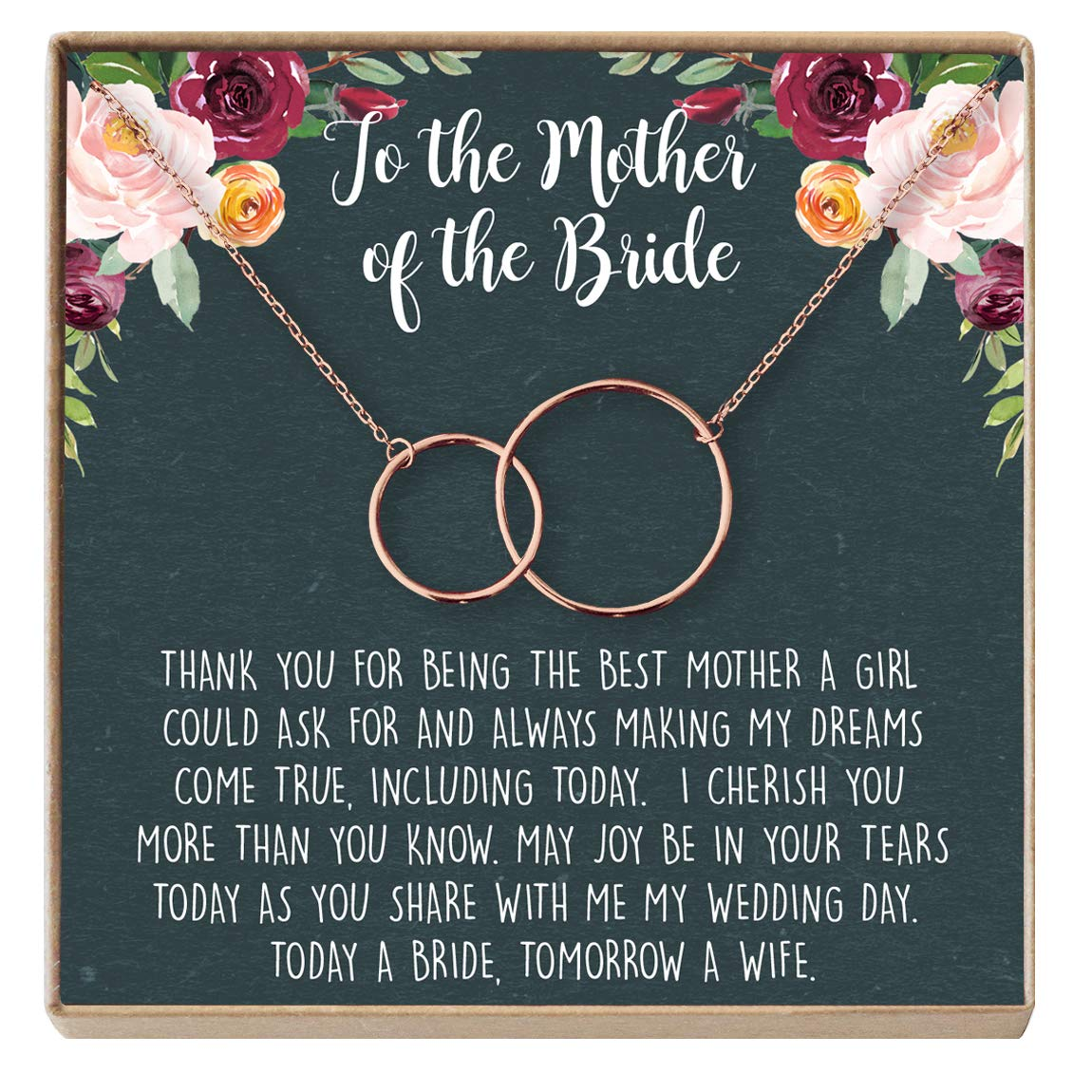 Dear Ava Mother of The Bride Gift Necklace Parent of Bride Jewelry 2 Interlocking Circles Wedding