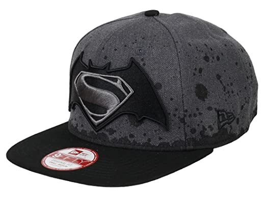 DC COMICS BATMAN VS SUPERMAN - NEW ERA 9FIFTY - SPLATTER HAT - GREY   BLACK 7d40910b3ccb