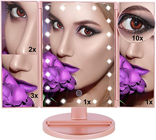 U.S.Solid Lighted Makeup Mirror LED Illuminated Mirror with 10X 3X 2X 1X Magnification Mirror 22 LED Tri-Fold Rose Gold Mirror with Touch Screen and 180 Adjustable Stand Two Power Supply Mode