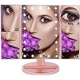 U.S.SOLID Espejo Maquillaje Espejo de Maquillaje Espejo con luz LED de,Regalos Originales para muje 10X 3X 2X 1X Espejo tríptico de,Pantalla táctil Lámparas con Iluminacíon (Oro Rosa)