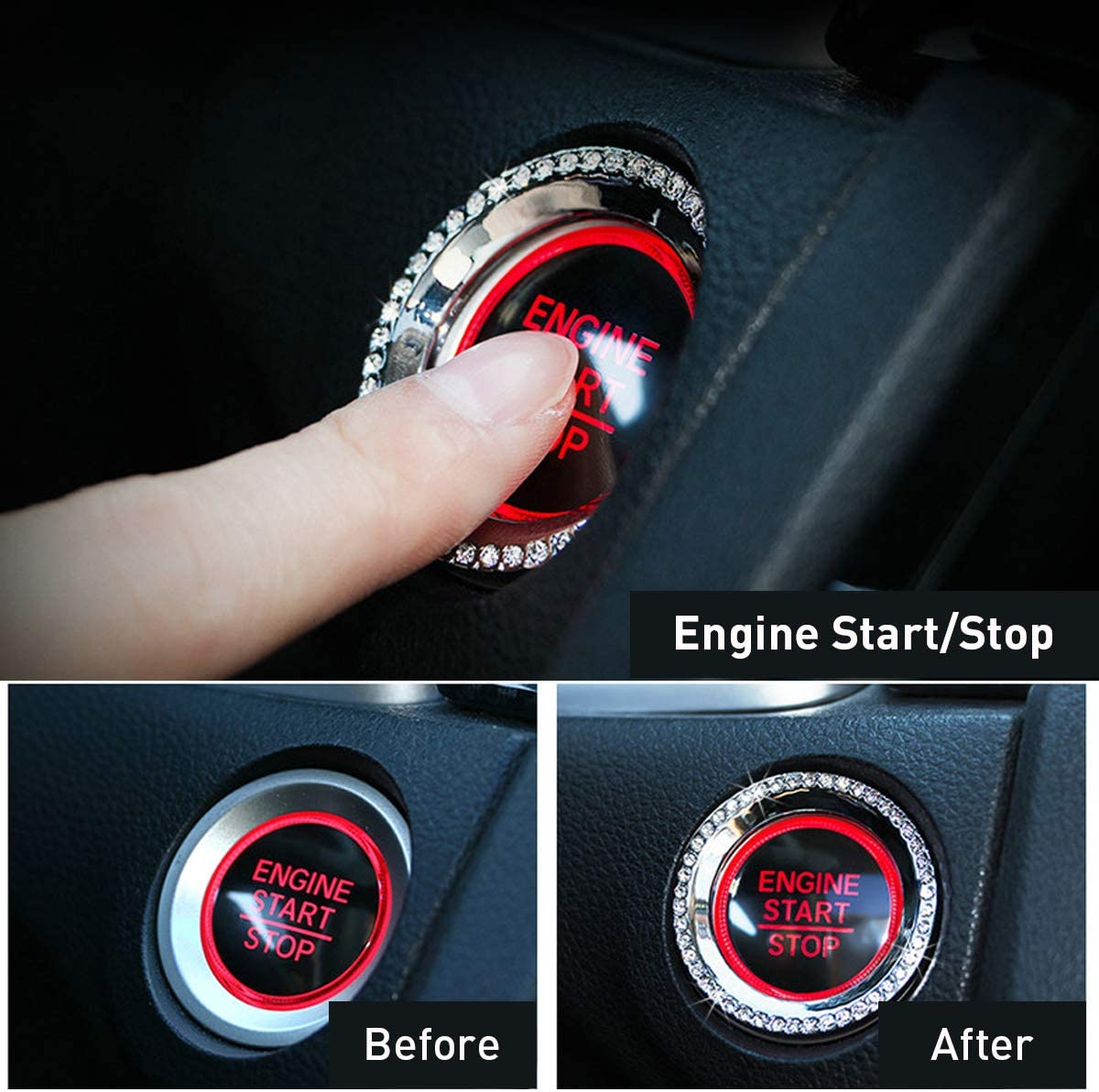 Silver Gear Shift Head Cover Decal Trim for 2016 2017 2018 2019 2020 Honda Civic KFZMAN 3 in 1 Engine Start Decoration Ring Cover Bling Bling Auto AC Conditioner Knob Ring Trim for 10TH Honda Civic