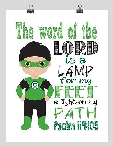 Green Lantern Christian Superhero Nursery Decor Wall Art - The word of the Lord is a  sc 1 st  Amazon.com & Amazon.com: Green Lantern Christian Superhero Nursery Decor Wall Art ...