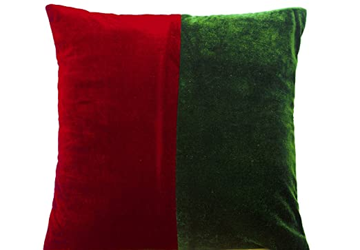 Regalo de Navidad fundas de almohada - rojo y verde bloque ...