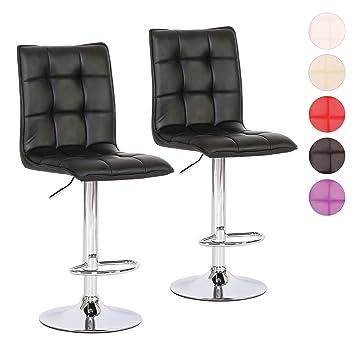 Barhocker Tresen-Stuhl höhenverstellbar 2er Set - verchromter ...