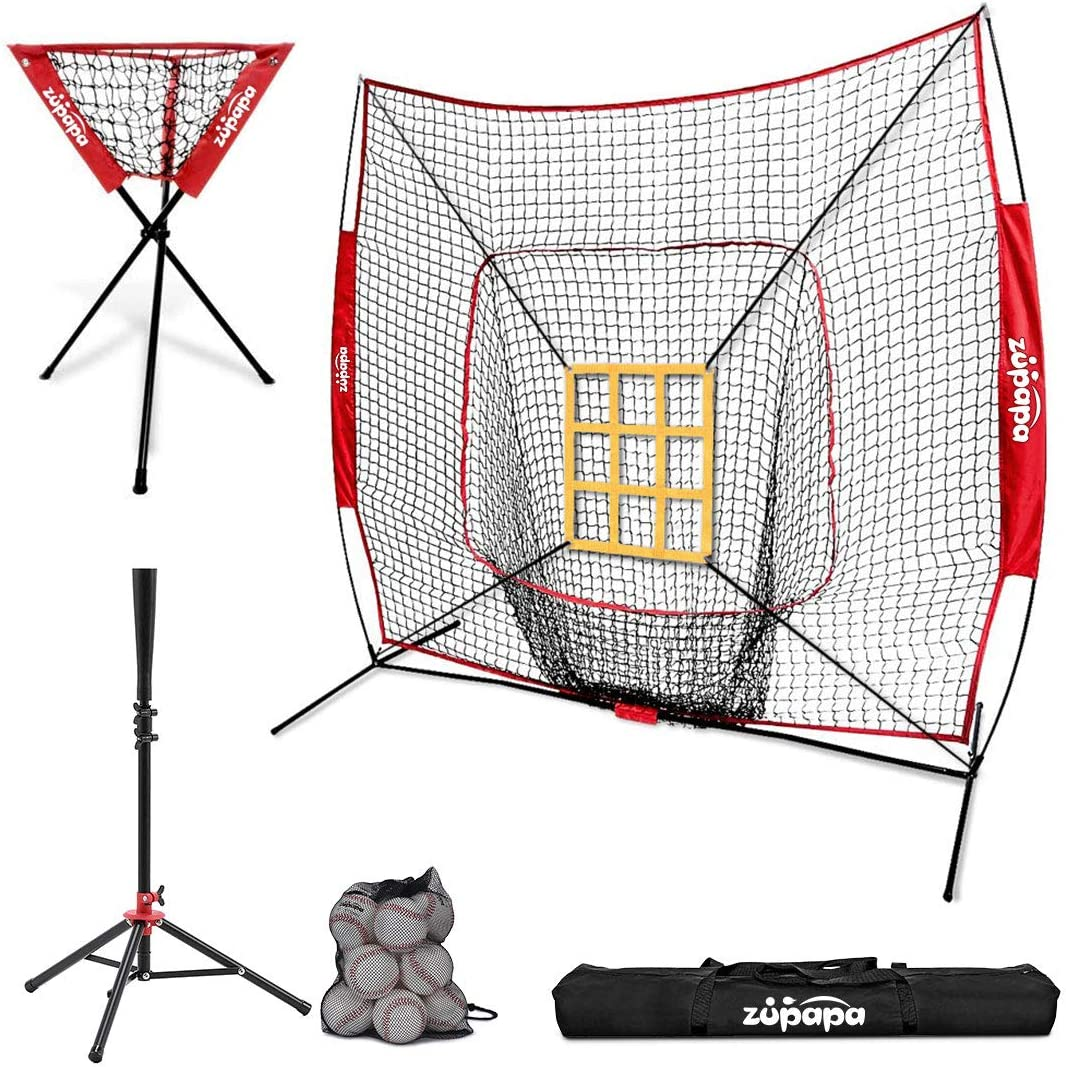 Zupapa Baseball Softball Practice Combo – 7 X 7 Feet Net Tee Caddy 12 Pack Baseballs Set, Upgraded Vivid Strike Zone, Baseball Backstop Practice Net for Hitting Pitching Batting Catching