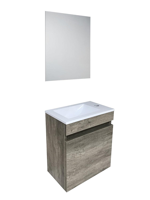 Starbath - Ensemble OSLO petite meuble salle de bain MDF marron 41x25cm + vasque en résine + miroir