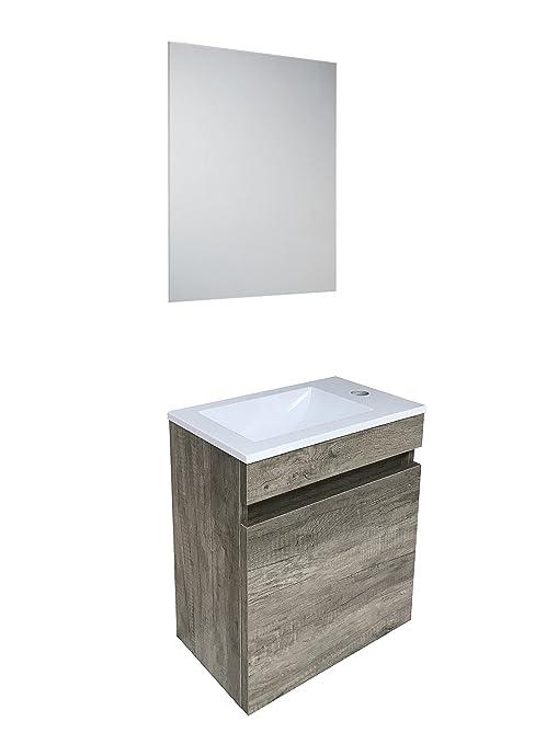 starbath - Set mobile da bagno sospeso Oslo 40 x 25 cm MDF marrone + ...