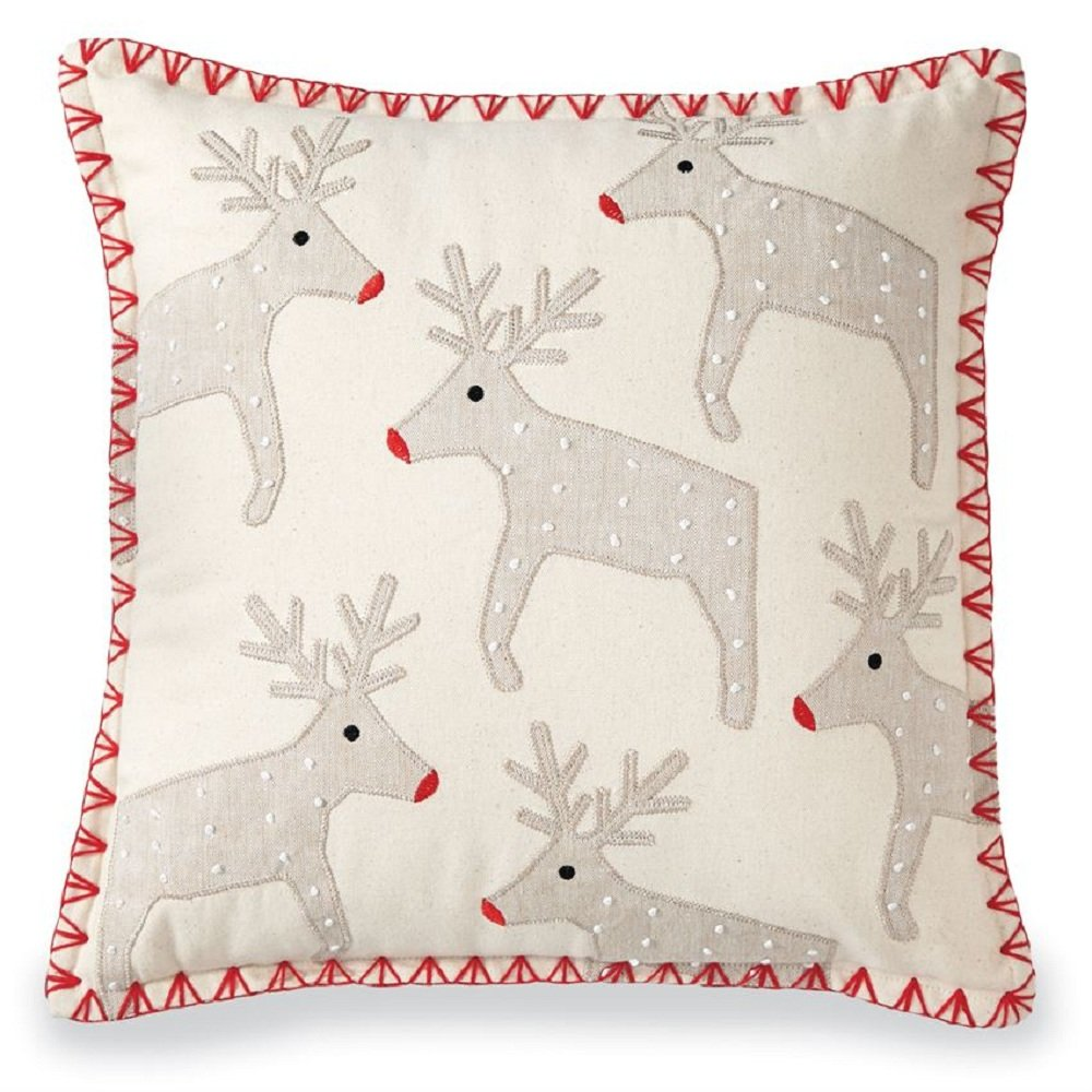 Mud Pie Chambray and Felted Wool Reindeer Square Pillow