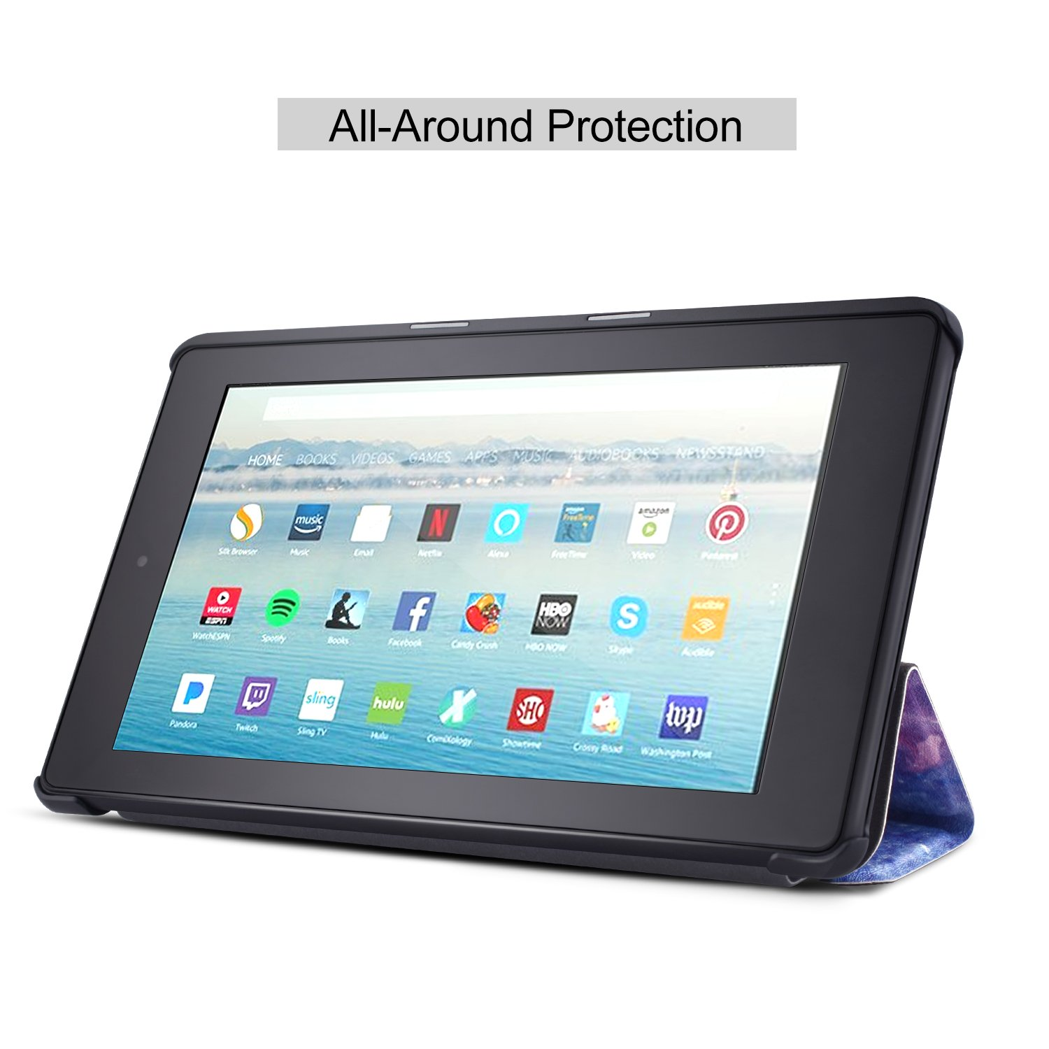 Dopup Fire 10 Case for All-New Fire HD 10 Tablet (7th Generation, 2017 Release),Protective Standing Cover with Auto Wake/Sleep Function (Blue Galaxy)