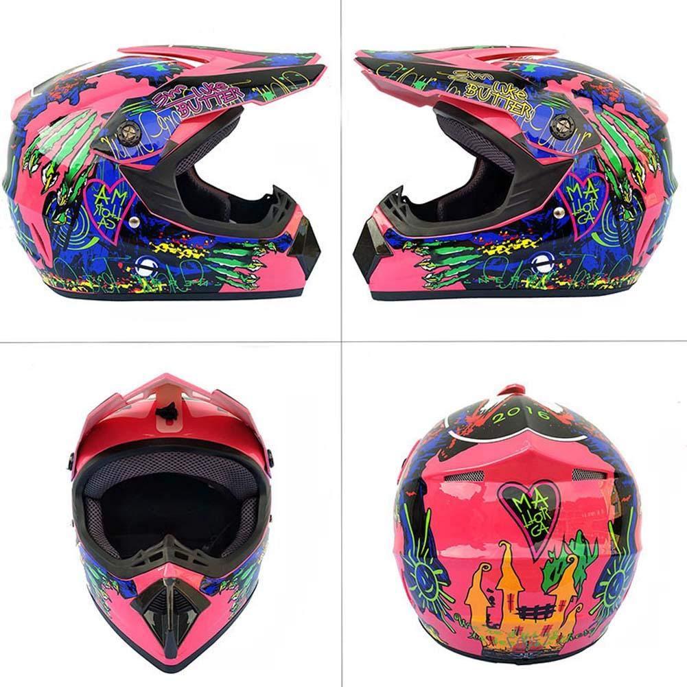 WXGY Casco de Motocross Todoterreno para Hombres con dise/ño Impreso Motocicleta de Cross Country Casco Completo Road Racing Set de Casco con Gafas M/áscara y Guantes para Adultos Unisex
