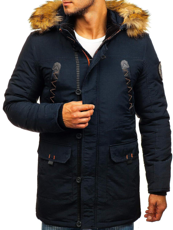 BOLF Homme Blouson d'hiver Veste Parka Matelassé Capuche Style Sportif Mix 1A1 Bleu Foncé_5312