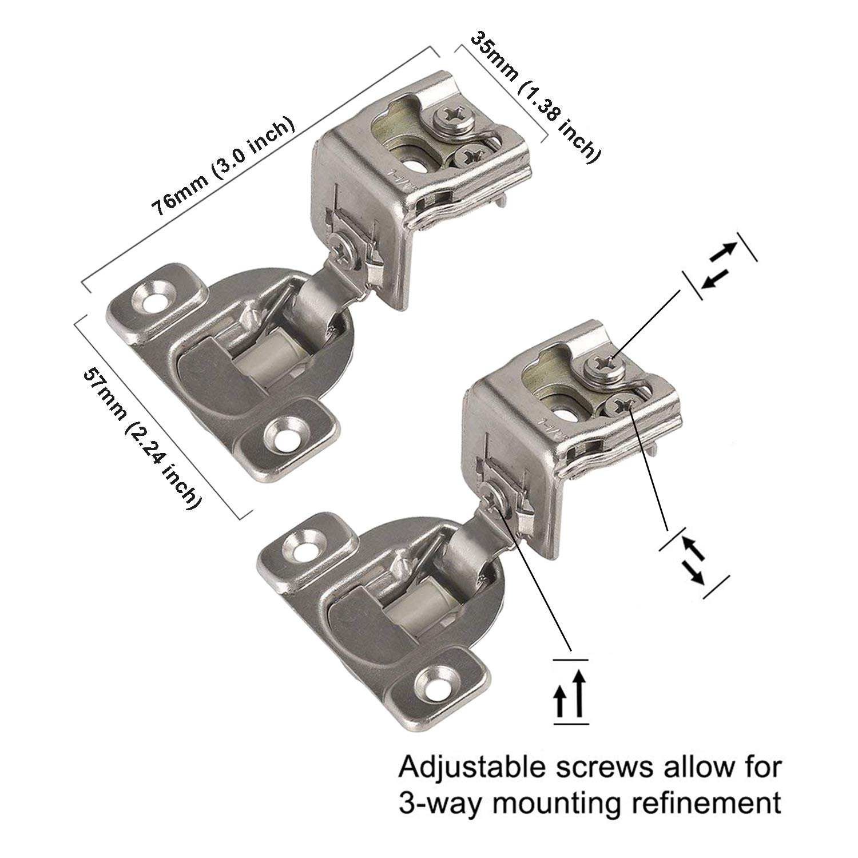 "30 Soft Close 1//2/"" Overlay 3 Way Adjustment Face Frame Nickel Cabinet Hinges"