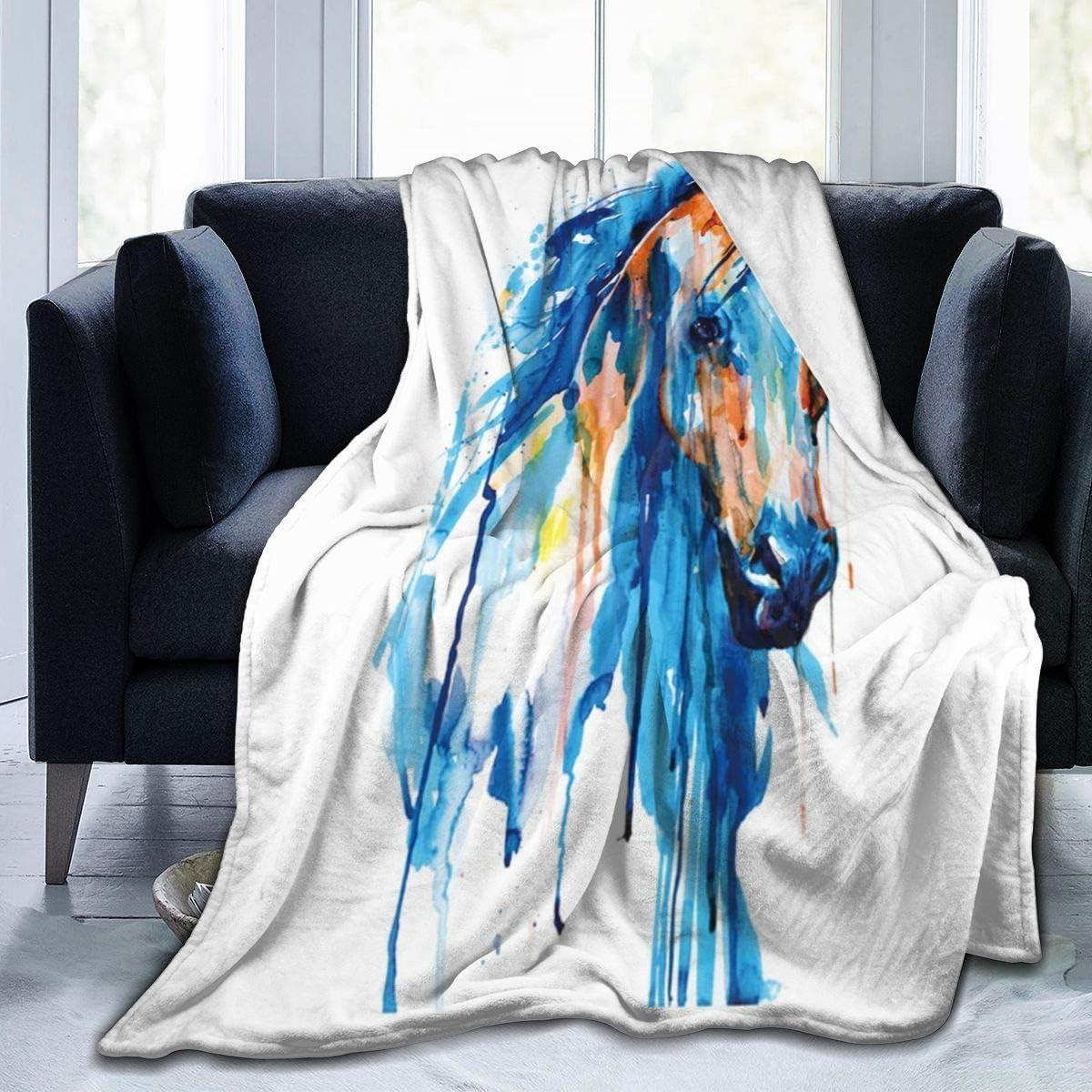 Blanket Manta De Tiro con Pintura De Caballo Azul, Manta De Lana, Cómoda, Cálida, Ligera, Súper Suave, Cama 102X127Cm para Dormitorio, Sala De Estar, Todas Las Estaciones