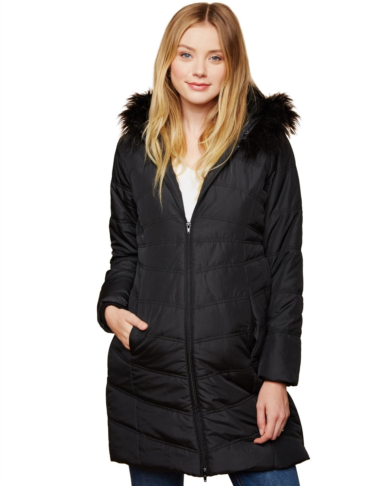 Motherhood Maternity Women's Maternity Quilted Puffer Coat with Attached Hood and Faux Fur Trim Detail, Black, Large