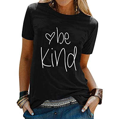 Akihoo Womens T-Shirt Cute Letter Print Short Sleeve Tee Top Funny Graphic T Shirt at Women's Clothing store