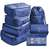 Packing Cubes 7 Pcs Travel Luggage Packing Organizers Set with Toiletry Bag (Navy)