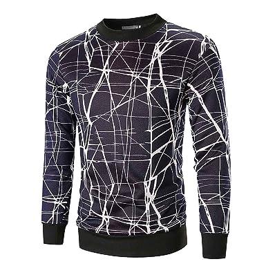 28e7c6065ffb Amazon.com  Elogoog Men s Hipster Slim Fit Long Sleeve Pullover Graphic  Fashion Printed Sweatshirt T-Shirt  Clothing