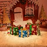 3pcs Lighted Gift Boxes Christmas Decorations with Bows, Lit Present Snowflake Boxes, Indoor Holiday Party Home Décor