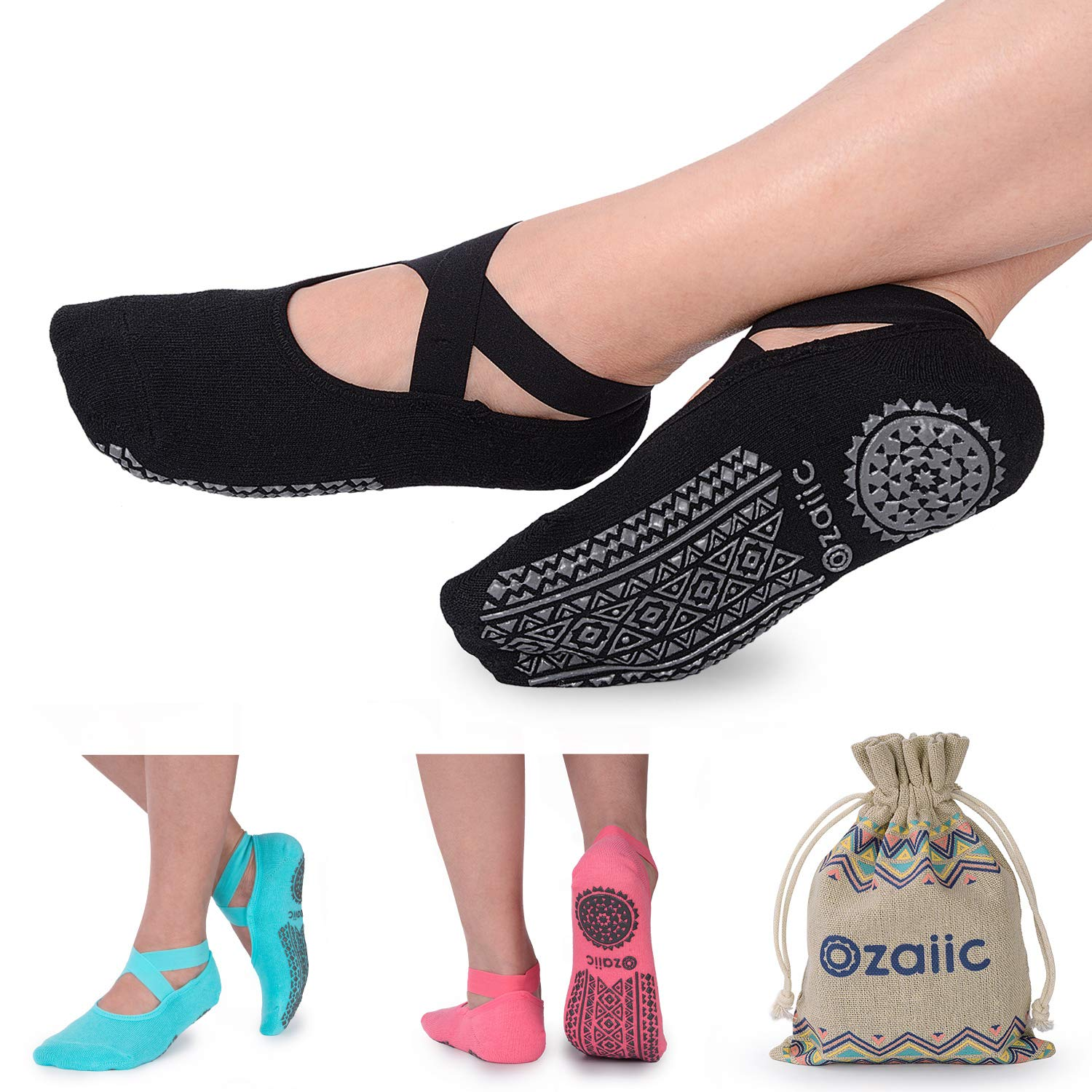Ozaiic Yoga Socks Women Non-Slip Grips & Straps, Ideal Pilates, Pure Barre, Ballet, Dance, Barefoot Workout Yoga Socks for Women