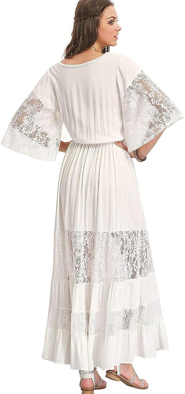 Milumia Womens Bohemian Drawstring Waist Lace Splicing White Long Maxi Dress