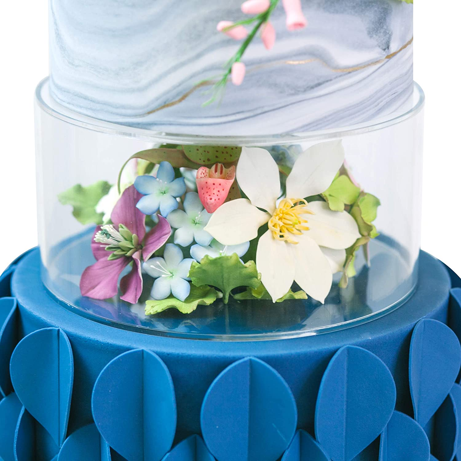 Lacupella Acrylic Fillable Cake Pillar Stand, Raiser and Enhancer Display - 10 in diameter - Decoration With Flowers, LED, Donuts, Sand, Water And More