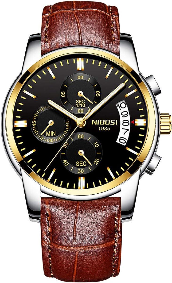 NIBOSI Mens Chronograph Quartz Watch with Leather Steel Strap 2353 Brown Black