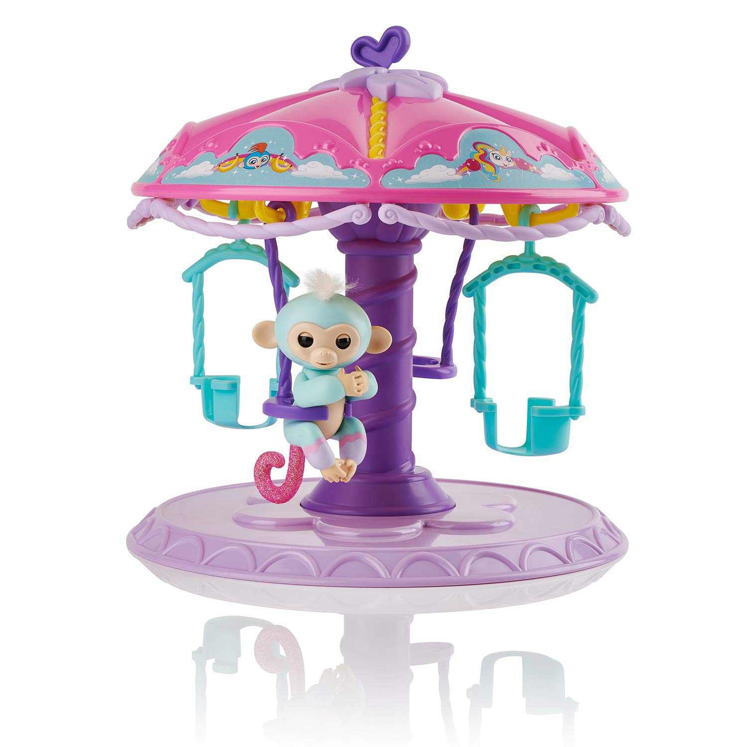 WowWee Fingerlings Playset: Twirl-A-Whirl Carousel with 1 Fingerlings Baby Monkey - Abigail (Light Blue with Pink Glitter) 3736