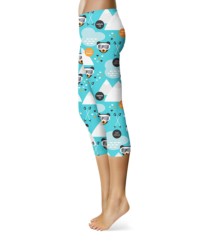 Ski Fun Bears Capri Leggings for Women Sizes XS-3XL Capri 3//4 Length Lycra Gym Yoga