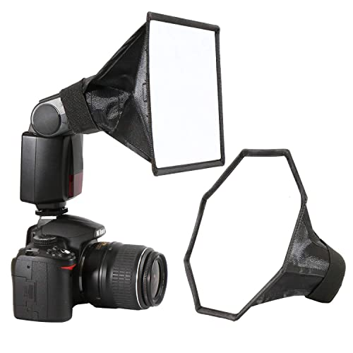 Universal Camera Flash Diffuser Speedlight Softbox Kit, Portable Small Soft Box for Canon Nikon, 20cm Octagon Softbox + 20x15cm Rectangular Softbox with Carry Pouch