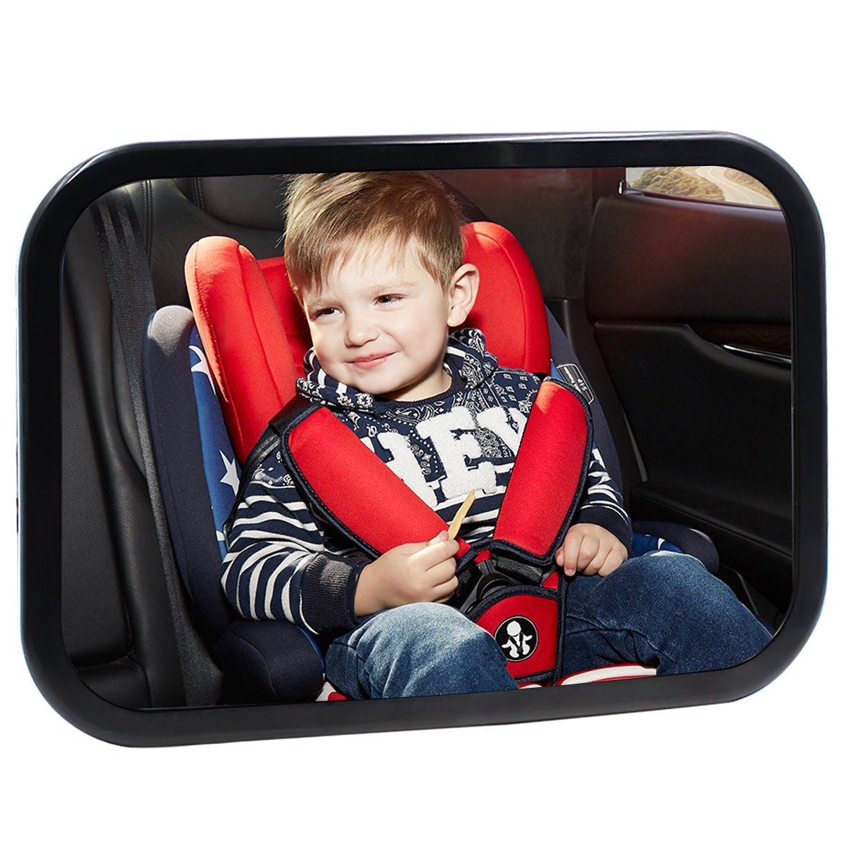 Baby Back Seat Car Mirror View Rear Facing by Hippih, No Headrest Expanded View