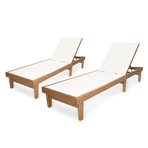 Christopher Knight Home 304497 Shiny Outdoor Wood Chaise Lounge Set of 2 , Teak Finish White Mesh