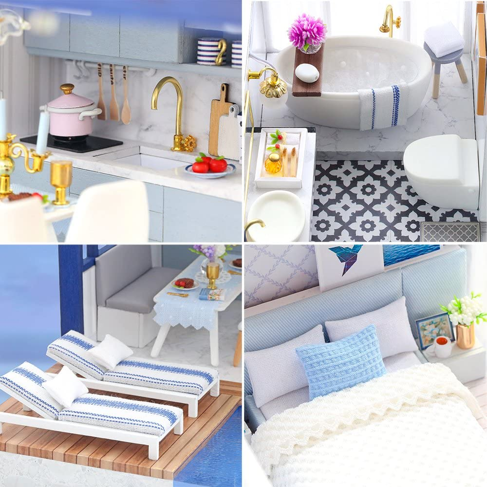 1:24 Scale Creative Doll House Toys for Teens and Adult Craft Gift Spilay DIY Miniature Dollhouse Wooden Furniture Kit,Handmade Mini Modern Apartment Model with Dust Cover /& Music Box Time Apartment