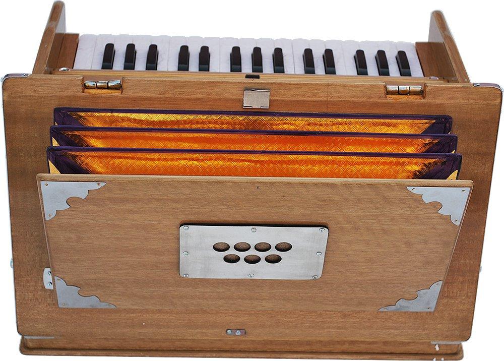 Safri Harmonium- 2¾ Octave By Kaayna Musicals-Portable, Traveler, Baja, 4 Stops (2 Drone), Two Set Reed- Bass/Male, Teak Color, Gig Bag, Tuning: 440 Hz, Suitable for Yoga, Bhajan, Kirtan, Mantra, etc by Kaayna Musicals (Image #8)