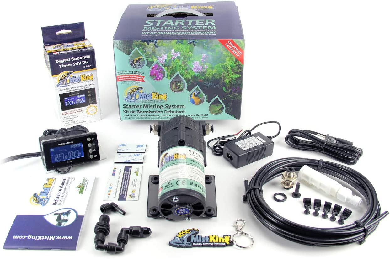 MKMSS5-8pk MistKing 5th Generation Starter Misting System for Patio Rooms Cooling Terrariums and Green Houses