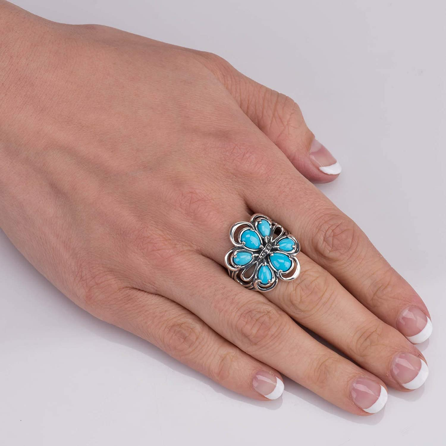 Carolyn Pollack Sterling Silver Sleeping Beauty Turquoise Gemstone 6-Stone Cluster Ring Size 5 to 10