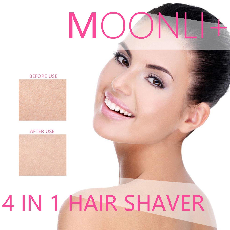Hair Shaver for Women Bikini Electric Facial Hair Removal Ladies Razor Epilator Nose Hair Remover Kit Pubic Hair Trimmer for Women Bikini Face Eyebrow Body Armpit Leg Moonli 4 in 1 Waterproof Groomer