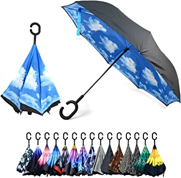 Windproof Reverse Folding Umbrella for Car Double Layer Inverted Umbrellas with Digital Camouflage Hipster Print C-Shaped Handle Umbrella