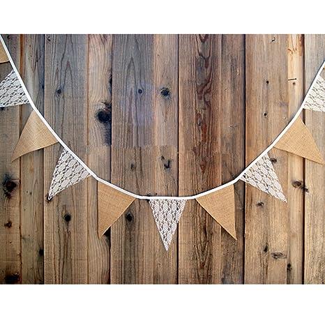 Vintage Jute Banner Flag Bunting Fahnen für Hochzeit Deko Mit Herz Party Dekor,