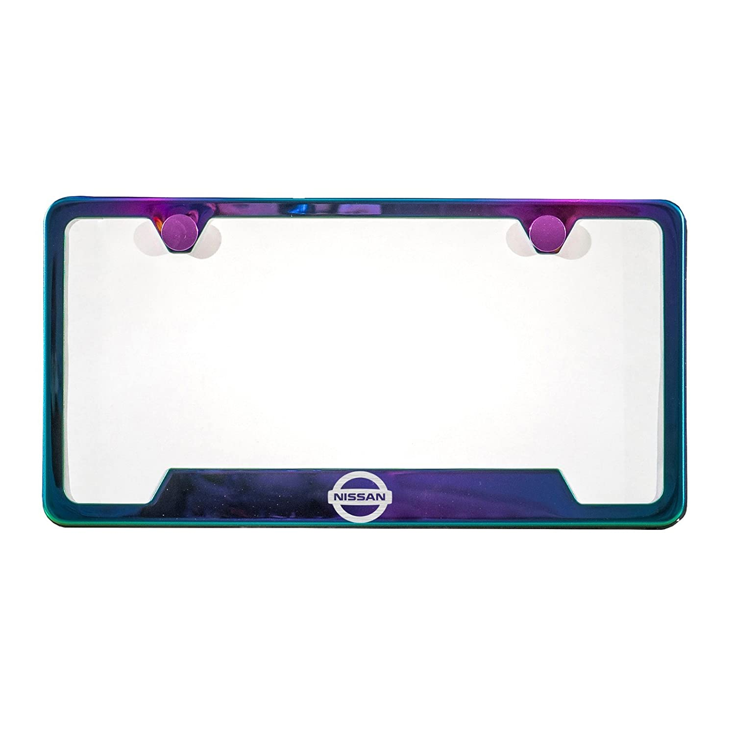 Purple Chrome Laser Etched Fit Infiniti Logo License Plate Frame Stainless Steel