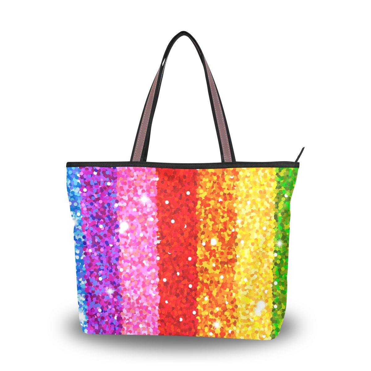 Travel Beach Bag Shopper Tote Handbag Shoulder Hand Purse for Women Strap Girls Glitter Rainbow Medium