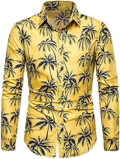 Loeay Hombres Verano Amarillo Bohe Camisa básica de Manga Larga Blusa Fit Camisa Estampada Delgada Camisas de Hombre: Amazon.es: Ropa y accesorios