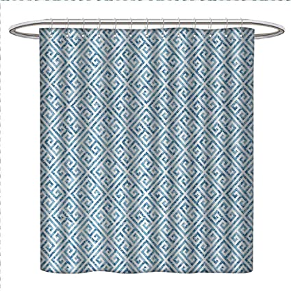 Greek Key Shower Curtain Customized Tile Mosaic Pattern In Blue And White With Antique Meander