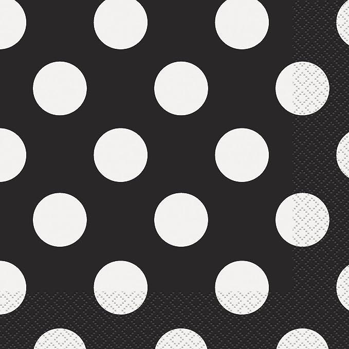 150 opinioni per Unique Party 30421- 16,5 cm Tovaglioli di Carta a Pois Nero, Confezione da 16