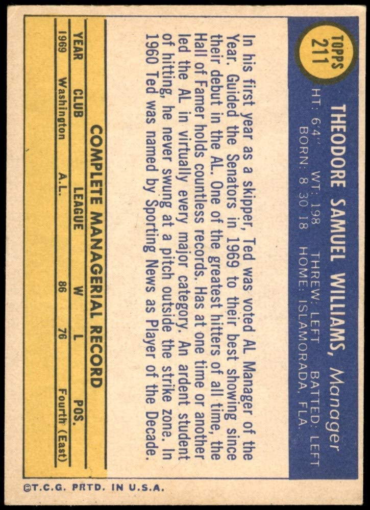 Baseball Card EX Senators 1970 Topps # 211 Ted Williams Washington Senators