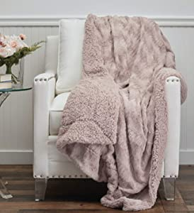 The Connecticut Home Company Faux Fur with Sherpa Reversible Throw Blanket, Many Colors, Super Soft, Large Plush Luxury Blankets, Warm Hypoallergenic Washable Couch or Bed Throws, 65x50, Dusty Rose