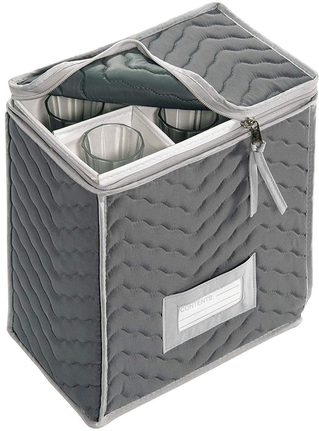 """Holds 6 Stemware Glasses Scratches And Cracks -Brown -11/""""X 9.25/""""X 6/"""" Richards Homewares 710961077 Protect Your Valuable Glassware from Dings Champagne Flute Glass Goblets Deluxe Storage Chest Quilted Microfiber"""